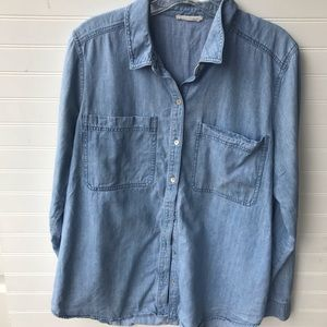 Eileen Fisher Chambray Button Up Top